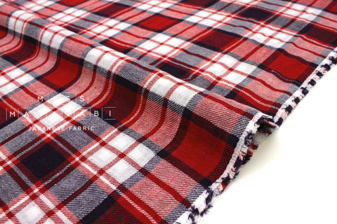 Japanese Fabric Sakizome Tartan Double Gauze - red, navy -  50cm