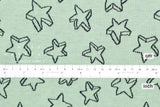 Japanese Fabric Stars reversible double knit - mint, navy blue - 50cm