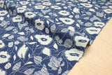 Japanese Fabric Wildflowers reversible double knit - blue, ivory - 50cm