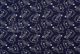 Japanese Fabric Hungry Wolf reversible double knit - natural, navy blue - 50cm