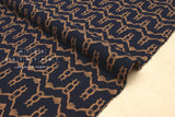 Japanese Fabric Monkey Banana Chain reversible double knit - earth, navy blue - 50cm