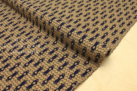 Japanese Fabric Otters reversible double knit - milk coffee, navy blue - 50cm