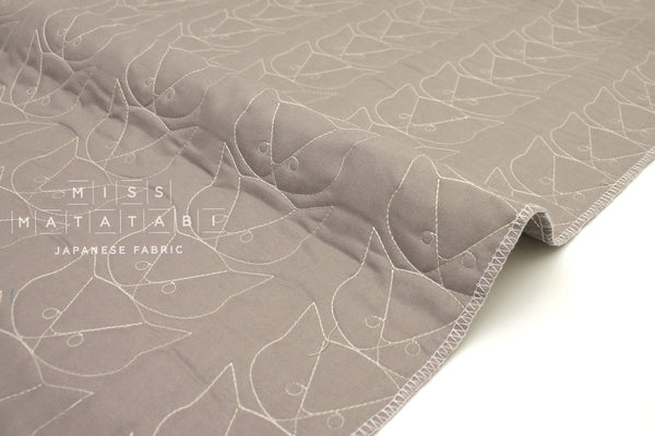 Japanese Fabric pre-quilted Cats - taupe - 50cm