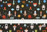 Japanese fabric Space Invaders - matte black - 50cm