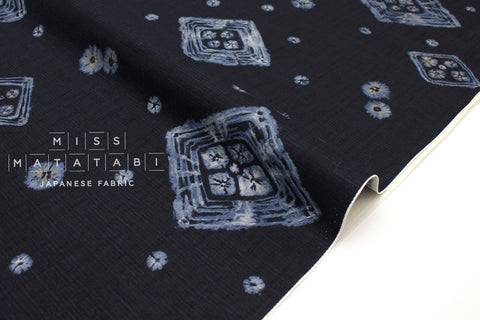 Japanese Fabric Kasuri Diamonds dobby - indigo blue - 50cm