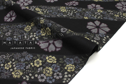 Japanese Fabric Kasuri Four Seasons Kasuri Kamon dobby - black, charcoal - 50cm