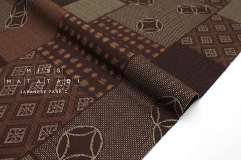 Japanese Fabric Kasuri Tsunagi Awase dobby - earthy brown - 50cm