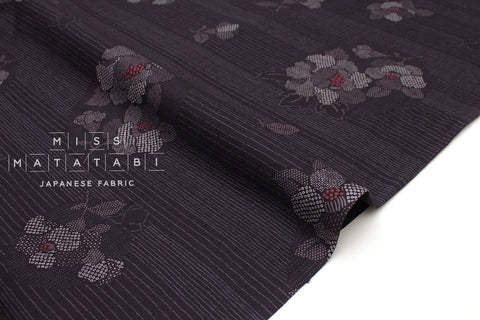 Japanese Fabric Stripe Hana dobby - deep purple - 50cm
