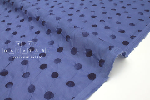 Japanese Fabric Textured Enshuku  Watercolor Dots lawn - blue - 50cm
