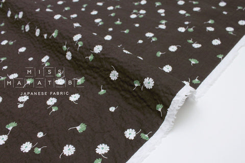Japanese Fabric Daisy Seersucker lawn - charcoal - 50cm