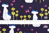 Japanese Fabric Cotton + Steel Once Upon A Time - Nya Nya - navy - fat quarter