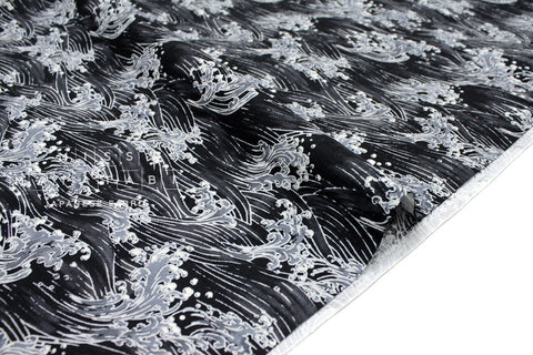Japanese Fabric Wild Waves dobby - black, charcoal - 50cm