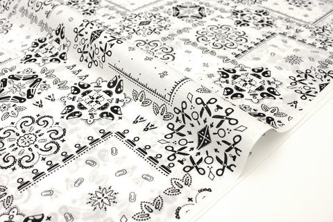 Japanese Fabric Stationery Bandana cotton lawn - black, white - 50cm