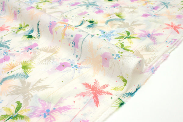 Japanese Fabric Painted Palms cotton lawn - pastel - 50cm