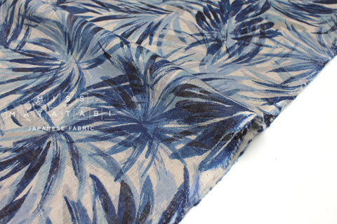 Japanese Fabric Palms linen voile - blue - 50cm