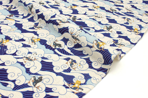 Japanese Fabric Ocean Cat - blue - 50cm