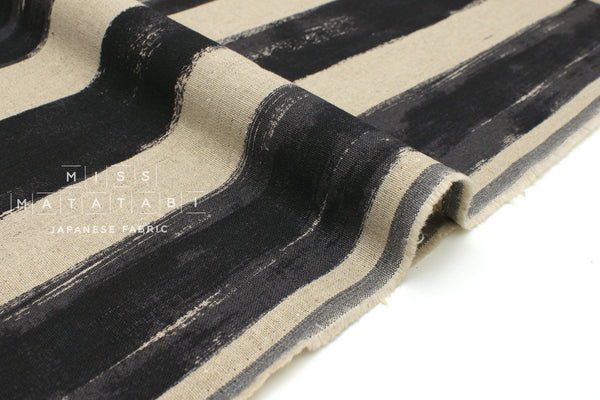 Japanese Fabric Mattina Di Vacanza Painted Stripes - black, natural - 50cm