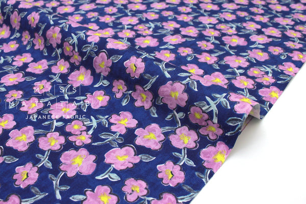 Japanese Fabric Happy Flowers - blue, pink - 50cm