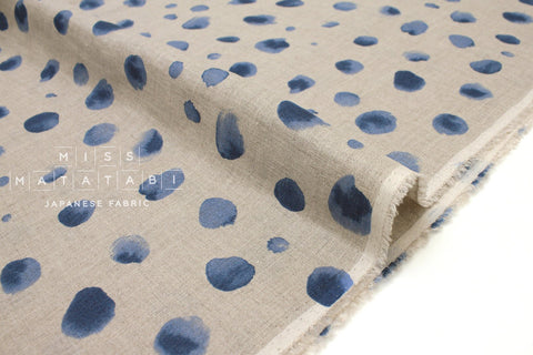 Japanese Fabric 100% linen Watercolor Dots - blue -  50cm
