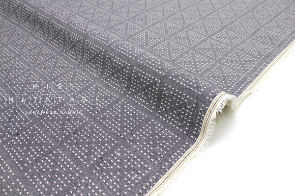 Japanese Fabric - yarn dyed sashiko embroidered cotton - cross - chambray blue, cream - 50cm