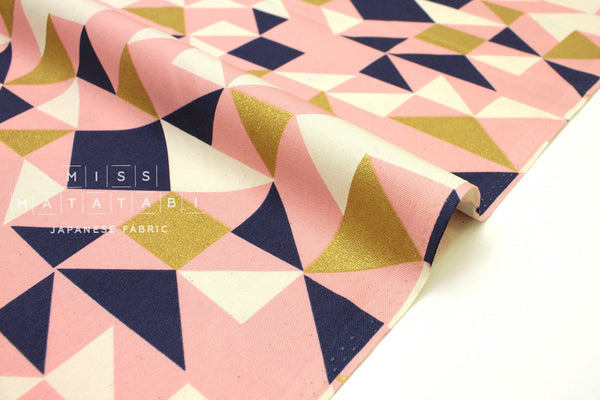 Japanese Fabric Geo Tumble - metallic gold, pink, blue, cream - 50cm