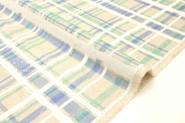 Japanese Fabric Kokka Plaid basket weave - green, white, blue - 50cm