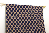 Japanese Fabric Kokka Corduroy Polka Dots - coffee, navy - 50cm