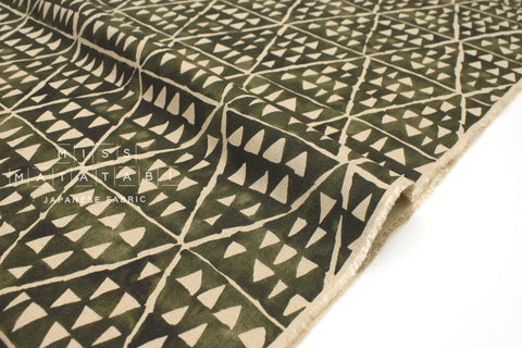 Japanese Fabric Kokka Painted Diamonds - green - 50cm