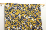 Japanese Fabric Painted Floral rayon linen - mustard, charcoal - 50cm