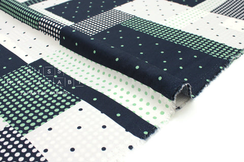 Japanese Fabric Dotty rayon lawn - navy blue, green - 50cm