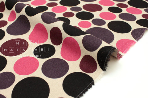 Japanese Fabric Polka Dots - pink, purple, black - 50cm