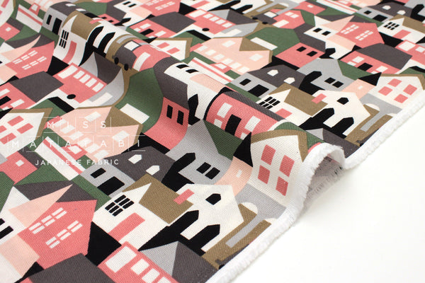 Japanese Fabric Village - cream, green, pink - 50cm