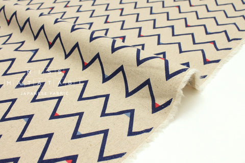 Japanese Fabric Mountains - blue, red - 50cm