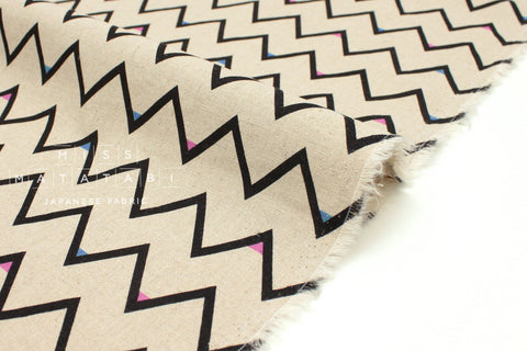 Japanese Fabric Mountains - black, pink, blue - 50cm