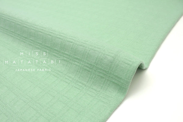 Japanese Fabric Window Check Jacquard knit - mint - 50cm