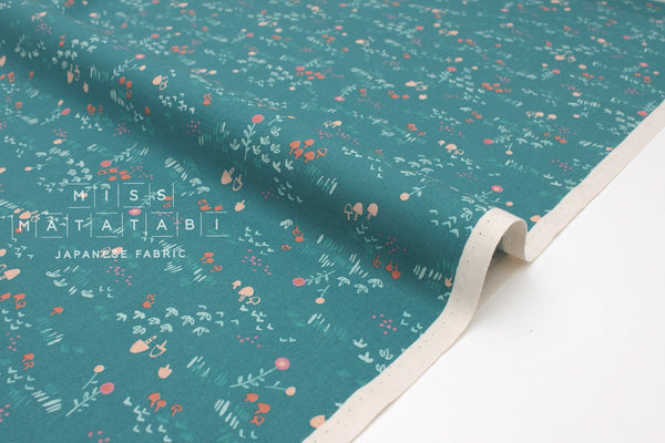Japanese Fabric Cotton + Steel Mori No Tomodachi - Field - teal - fat quarter