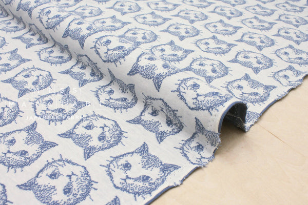 Japanese Fabric Chaton reversible double knit - cornflower blue, ivory - 50cm