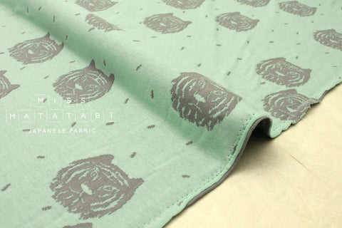 Japanese Fabric Tiger reversible double knit - mint, grey - 50cm