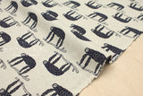 Japanese Fabric Sloths reversible double knit - natural, navy blue - 50cm