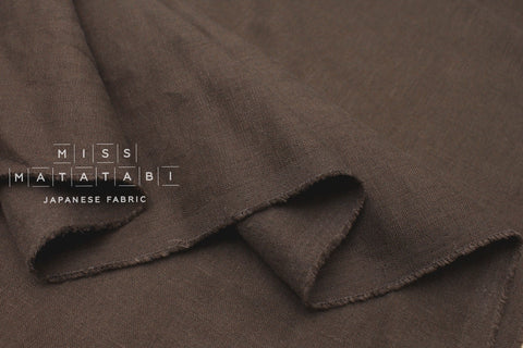 Japanese Fabric 100% brushed linen - chocolate -  50cm