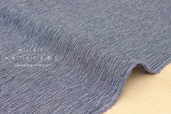 Japanese Fabric Textured Crinkle Linen Cotton - blue - 50cm