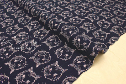 Japanese Fabric Chaton reversible double knit - navy, pink - 50cm