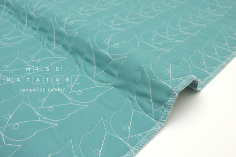 Japanese Fabric pre-quilted Cats - aqua blue - 50cm