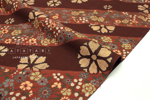 Japanese Fabric Kasuri Four Seasons Kasuri Kamon dobby - rust - 50cm