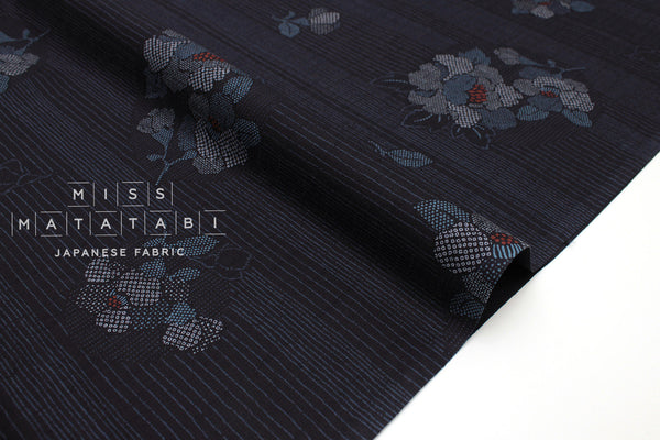 Japanese Fabric Stripe Hana dobby - indigo blue - 50cm