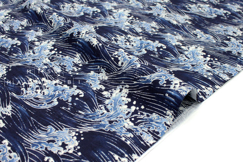 Japanese Fabric Wild Waves dobby - indigo blue - 50cm