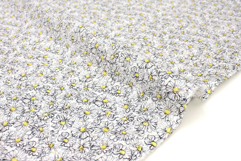 Japanese Fabric Daisies cotton lawn - yellow, black, white - 50cm