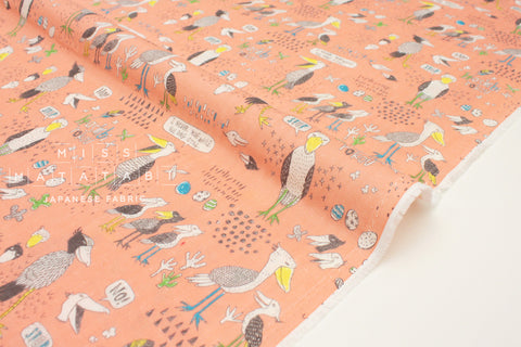 Japanese Fabric Kei Fabric Miyako Shoebill double gauze - peach pink - 50cm
