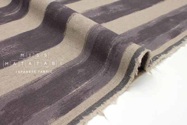 Japanese Fabric Mattina Di Vacanza Painted Stripes - mauve grey, natural - 50cm
