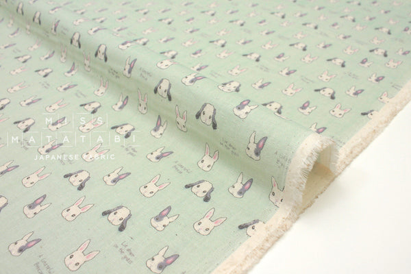 Japanese Fabric Kokka Sweet Animal Rabbits - mint - 50cm